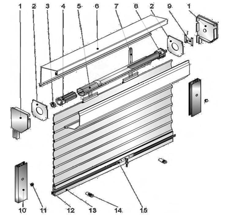 Строение рольставни с пружинно-инерционным механизмом